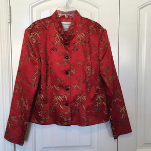 Dressbarn Asian Inspired Red Silk  Blouse/Jacket